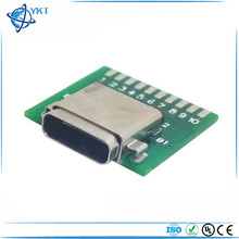 DIY USB 3.1 Type C Connector 24 Pins Female Socket receptacle adapter to solder wire & cable 24P PCB Board support