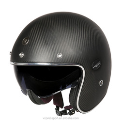 TORC Carbon fiber open face vintage motorcycle helmet ECE Approved retro scooter moto helmet