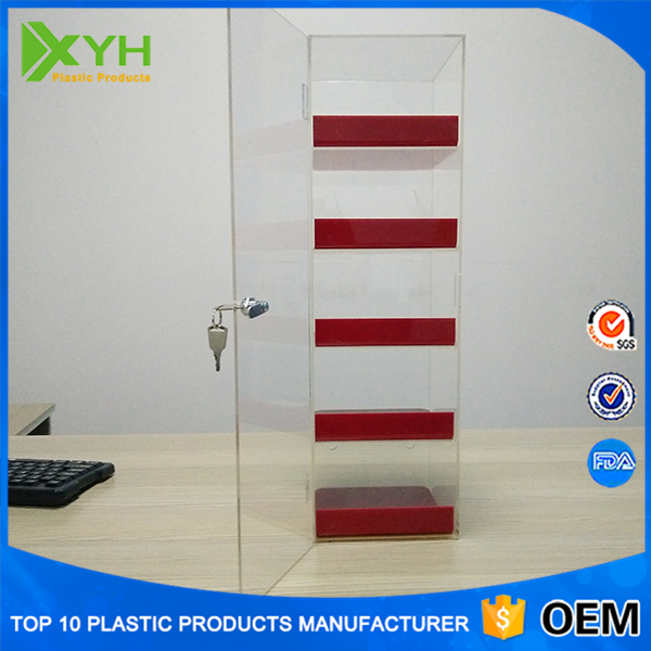 High Quality 5-tier Counter Top Cell Phone Accessories Display Case Wholesale Mobile Phone Charger Storage Acrylic Display Stand