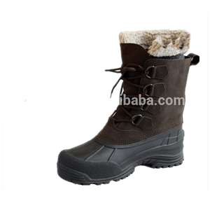 Genuine leather winter fur boots for men