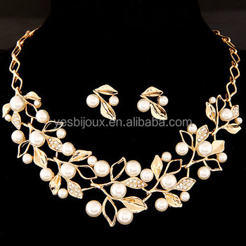Alloy Leaf Wedding Jewelry Indian Gold Bridal Jewellery Set