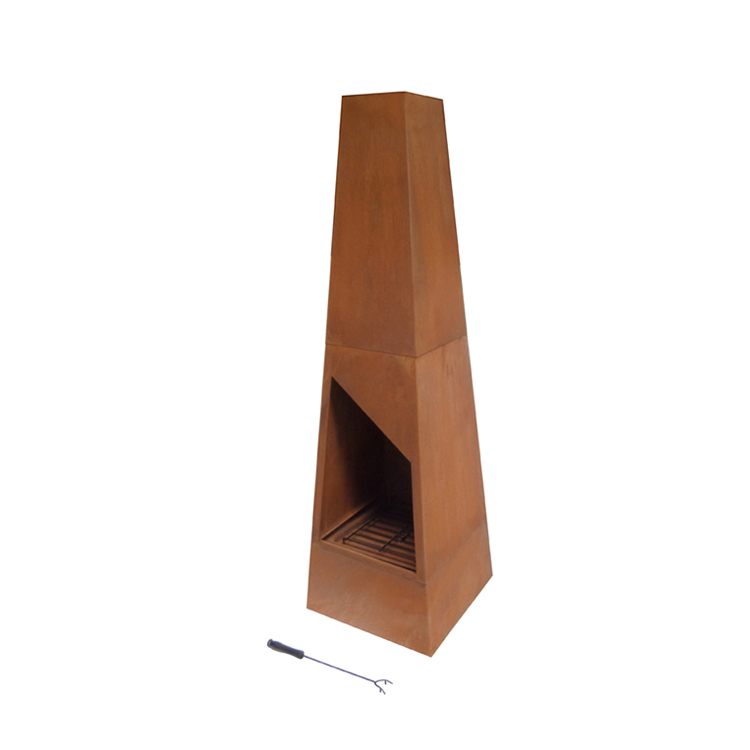 wood burning outdoor steel chiminea