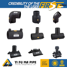 All size high quality socket / butt fusion plastic black hdpe / pe pipe fitting for pe pipe