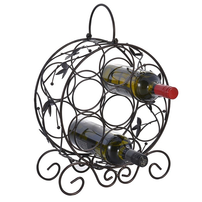 Decorative Freestanding Steel Iron Wine Rack For 7 Bottles
