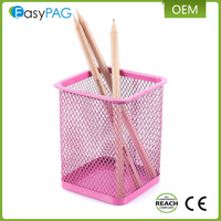 Best material metal magnetic power coating multicolor decorative single mesh pen holder
