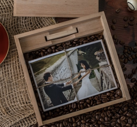 Custom LOGO Photo Album Wood Box for Photography Wedding Studio gift Personal art souvenir Wooden USB 2.0 flash stick pen drive