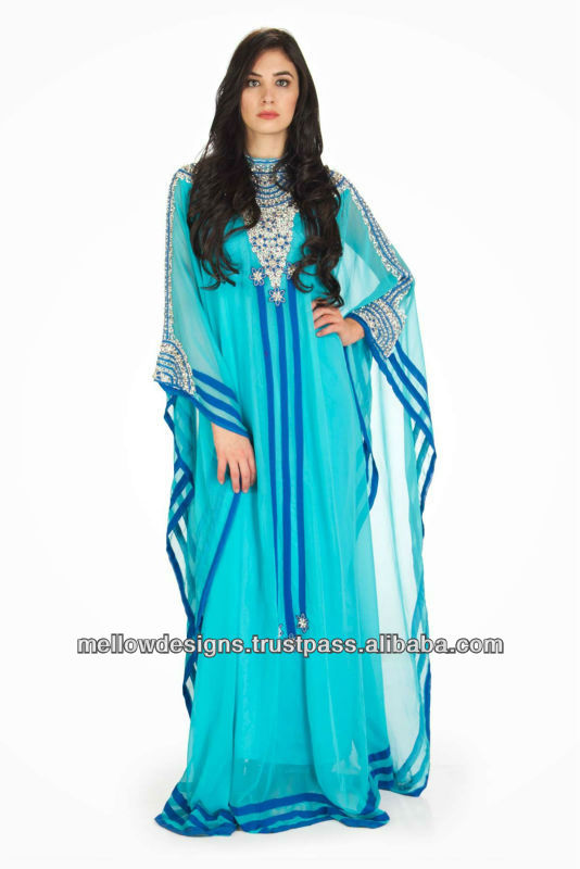 Sapphire color Dubai Kaftan, Islamic clothing