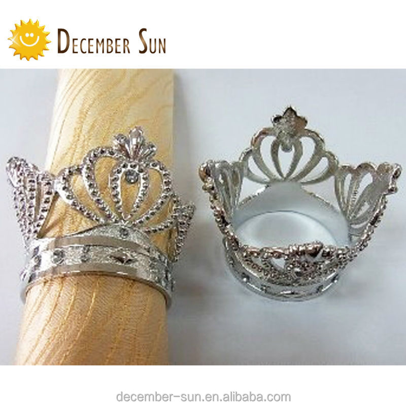 unique crown shaped silver diamond wedding napkin ring