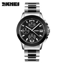 skmei 9126 japan quartz movement mens chronograph watches stainless steel