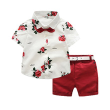 or60295a Summer new style <strong>children</strong> clothes <strong>sets</strong> floral print shirt casual shorts boy <strong>set</strong>