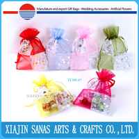 Organza gift bag draw string hot printing packing pouch wholesale