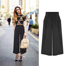 Alibaba 2016 Summer Fashion Ladies High Waist Pockets Trousers Elegant Pleated Zipper Side Black Wide Leg Pants Women