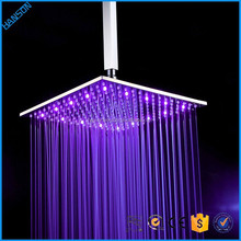 Bathroom use square Rainfall Led 3 color shower head