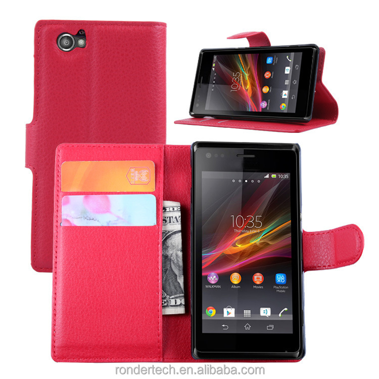 Free sample mobile phones Litchi Pattern Lychee design Credit Card Wallet Stand Flip leather case for sony Xperia M