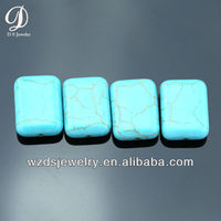 Wholesale Fat Rectangle Glossy Facet L01 Lab Synthetic Turquoise Stone Gems Loose Gemstone Cabochon Beads Diamond for Jewelry