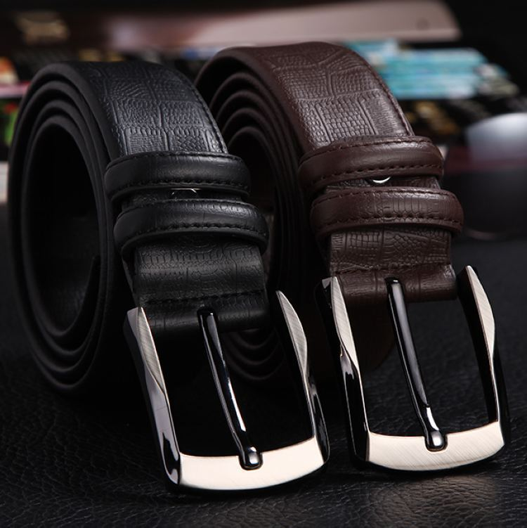 Handmade Band lichee pattern leisure pin buckle 110-120cm genuine cow leather mens belt