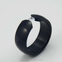 Stamping Stainless Steel small one gemstone Zircon cube Band Ring