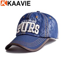 Wholesale 3d embroidery denim baseball hat custom 6 panel leather strap caps