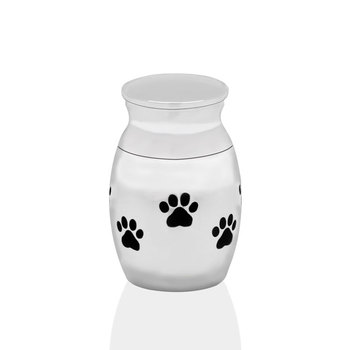 Marlary Stainless Steel Waterproof Unique Animal Paw Print Ashes Memory Pet Urn