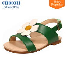 2017 Newest Adorable Genuine Leather Flower Kids Flat Sandals for Girls