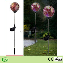 garden ornament mosaic stained glass ball solar lawn lamp