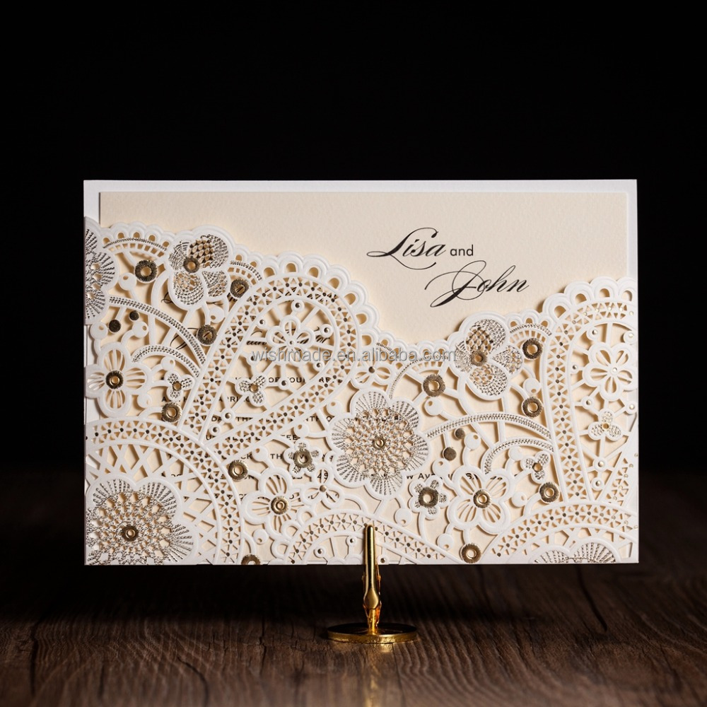 Laser Cut Wedding Invitations Elegant White Birthday Invitations Cards with Envelopes and Seals Party Supply CW5181