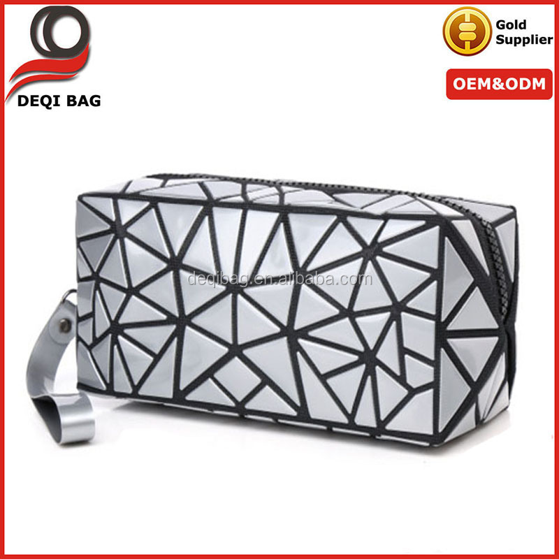 Fashion Handbag Makeup Case 3D Cosmetic Bag Waterproof Storage Pouch Pack Women Ladies Travel Home Laser Geometry