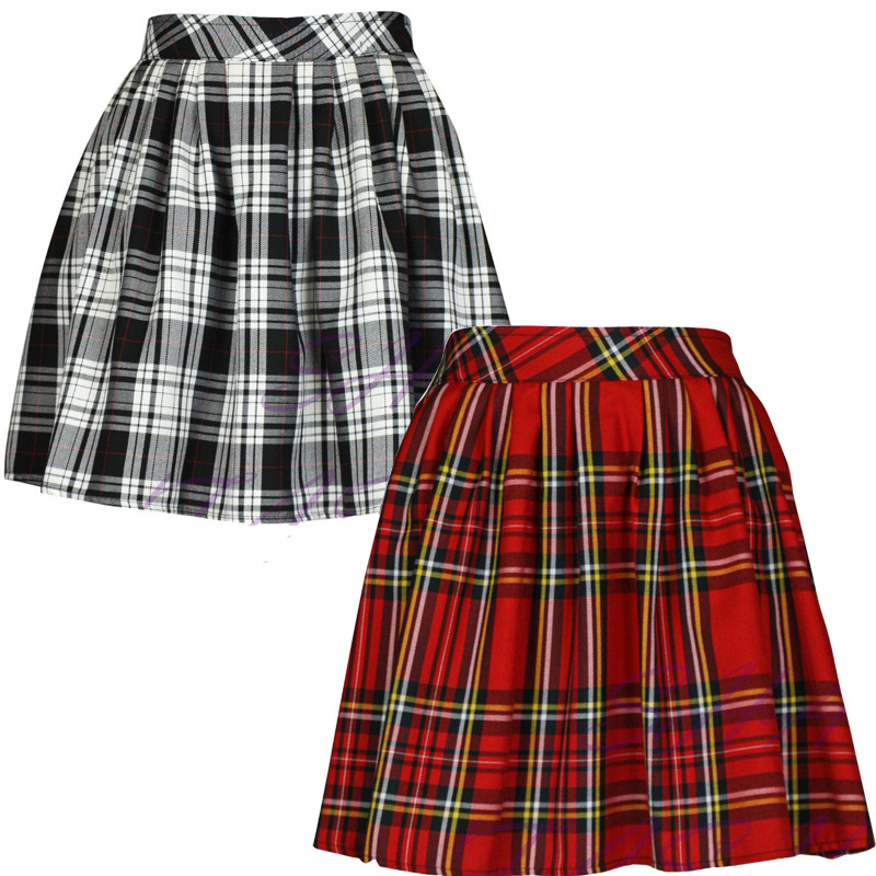 Fashion scotland style checked a-line skirt for autumn