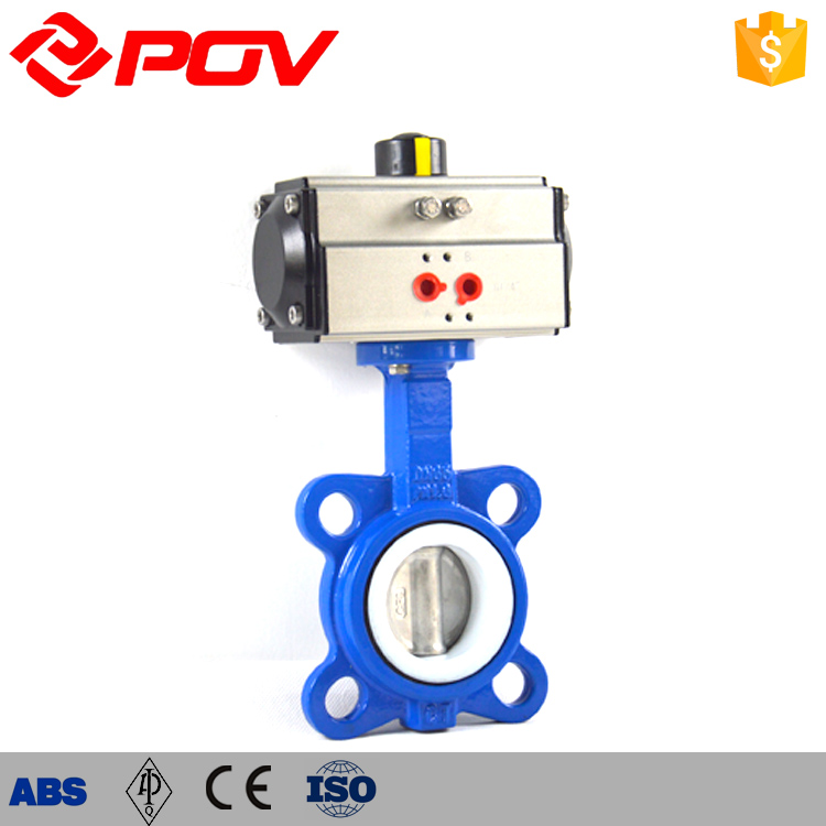 316 pneumatic PTFE seat wafer butterfly valve DN250