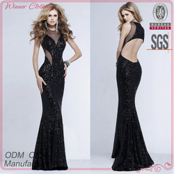 clothing custom-made small quantity hot sexy backless black long maxi women cocktail party dress