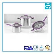9pcs wholesale stainless steel cookware set with purple silicone handle impacting bonding