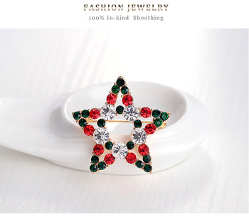 Christmas Gift New Products Fashion High-grade Alloy Rhinestone Brooch Colorful Crystal Star Wreathe Brooch