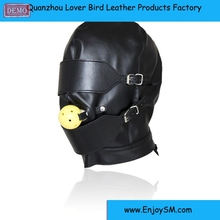 PU Leather Adjust Mask Hood Bondage With Eye Mask Blindfold & Mouth Gag For Couple Adult Game Fantasy Sex Cosplay Slave Sex Toys