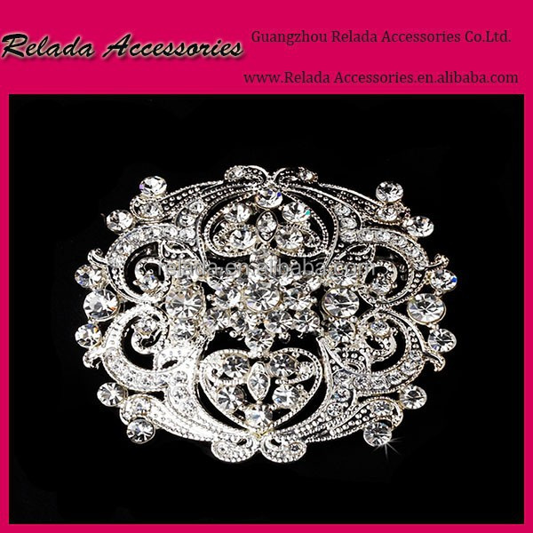 Magnetic scarf Silver Gold Rhinestone flower brooches pin