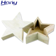 Latest Design Small Wholesale Unfinished Wooden Craft Star Shape Gift Box