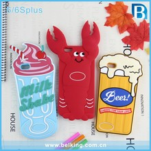 For iPhone 6 3D Silicone Phone Case Animal Silicon Cover For iPhone 6 Plus, Ice Cream/Beer/Crab Case For iPhone 6