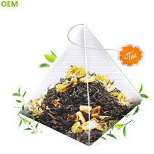 OEM Diy Best Fancy Biodegradable Nylon Mesh Silk Empty Pyramid Shaped Tea Bags/Triangle Tea Bag With String And Tag