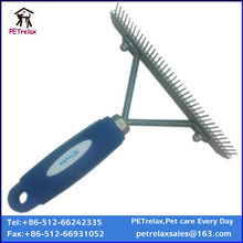 (L) PR80050 stainless steel rubber handle pet rake comb against fleas and lice
