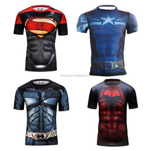2016 avengers united states captain super heroes clothing apparel men's running tights spandex slim 3d printing t shirt