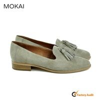 MK031-12 grey tassel suede slip-on flat shoes china factory wholesale women shoes
