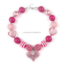 Sweet Valentine Day Necklace Baby Pink Red Beads Chunky Bubblegum Necklace with heart Pendant Best GIFT For Girls