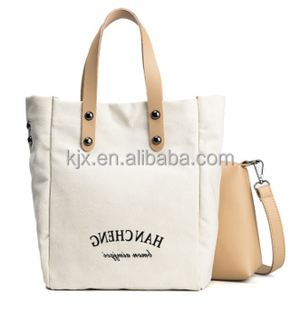 Beige Canvas Shoulder Handbag with Leather Strap