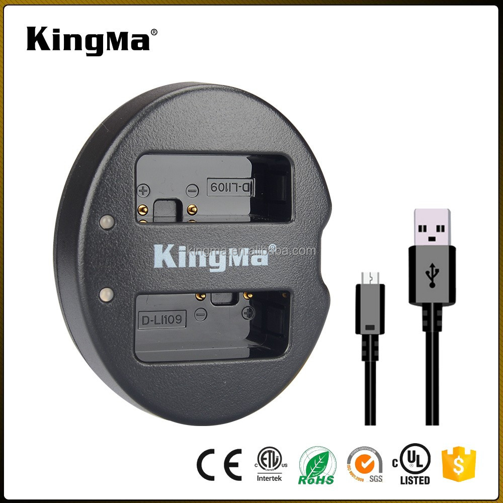 KingMa Portable Dual Micro USB D-LI109 DLI109 Camera Battery Charger for Pentax K-S1 K-S2 K-30 K-50 K-70 K-500 KR Digital Camera