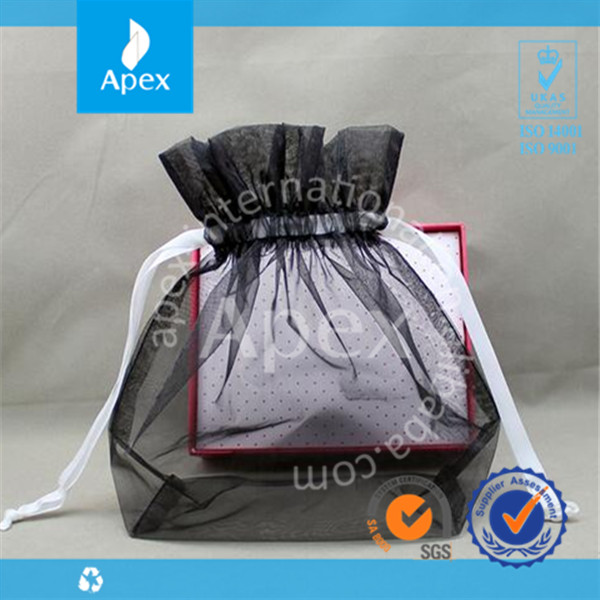 Cheap custom organza black drawstring bags