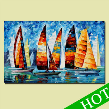 Pure handpainted high quality boat canvas oil painting for home decoration