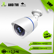 O2IN1300A-PBPA2 3MP 2048P 25m IR range IP66 Hybrid 2 in 1 AHD TVI top 10 cctv face detection camera with rain cover