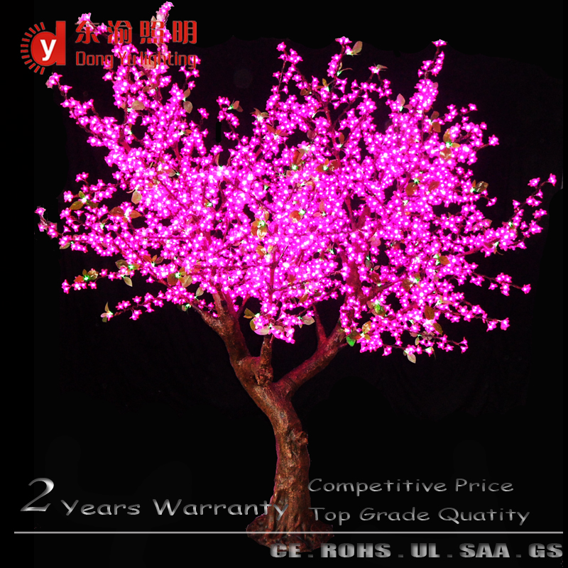 Pink color artificial fake cherry blossom tree with led light for decoration