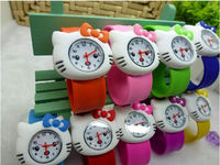 Kids Slicone Snap-on Slap Cuff Watch Hello Kitty 3D Cartoon Birthday Gifts