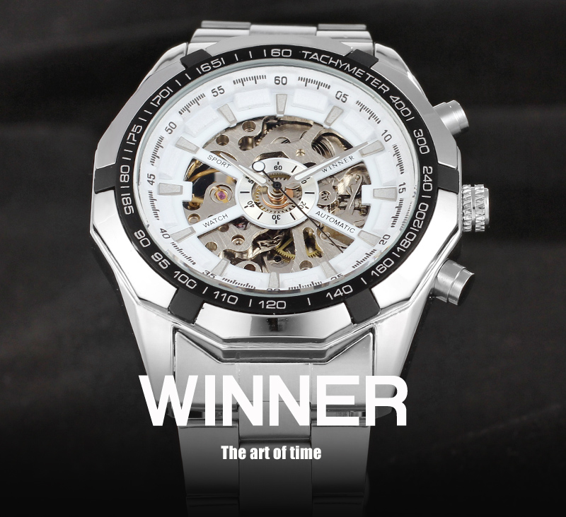 T-winner Skeleton Automatic Mechanical Stainless Steel Bracelet Watches For Men Sales Online