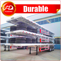 3 axle double axles flat bed trailer flatbed semi trailers for sale